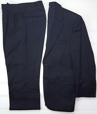 Jos A Bank 40S Suit Gray 2 Button Mens Wool Pleated Cuffed Signature Collection