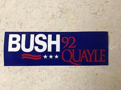 1992 George Bush, Dan Quayle Re-Election Campaign Bumper Sticker: Bush Quayle 92