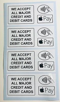 4 X Con-tactless Card Payment Stickers