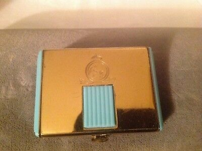 Vintage Art Deco Coty powder compact goldtone with green plastic