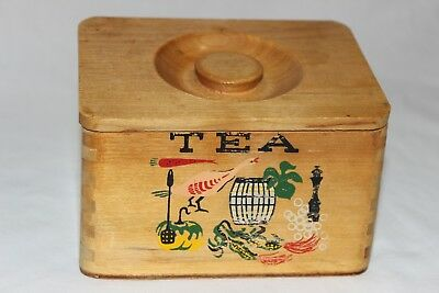 Vintage Country Cottage Chic Ucagco Wood Dovetail Tea Canister Made in Japan