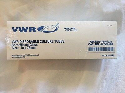 VWR Culture Tubes,Disposable,Borosilicate Glass.47729-568 10x75mm Qty:250 Approx