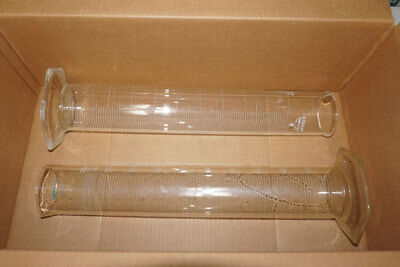 Lot of 2 Graduated Cylinders 2000mL, Pyrex Plus 63024 + Kimax 20022