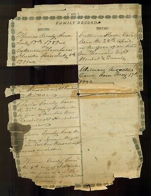 1796-1822 Comly Family Record Page
