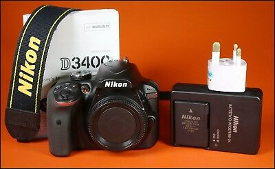 Nikon D3400 Digital 24MP SLR Camera Battery, Charger & Manual Only 39 Shots