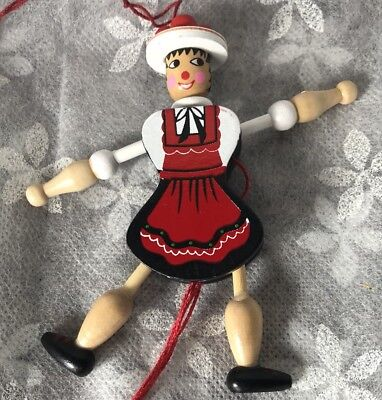 Vintage Wood Pull Toy Ornament E. Pfaff Cute Hand Painted Girl Red Dress