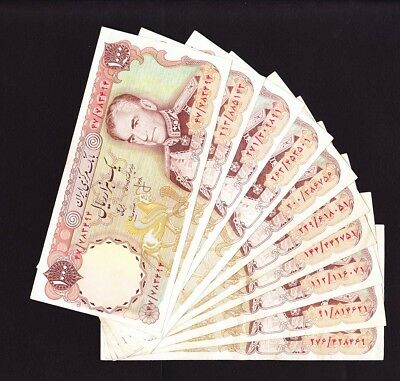 Pick 105 very circulated 10x Middle East BANKNOTE single 1000 RIALS  SHAH single