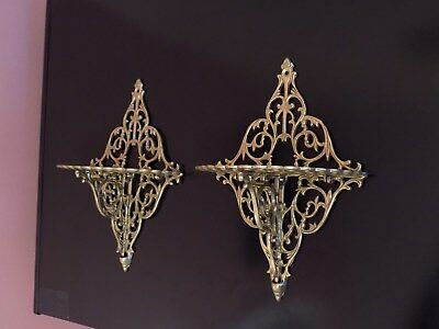 Vintage Pair Decorative Ornate Solid Brass Wall Hanging Foldable Shelves