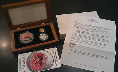 SILVER / GOLD PROOF SET 1994 ~ PAPUA NEW GUINEA ~ Bird of Paradise  C.O.A. BOXED