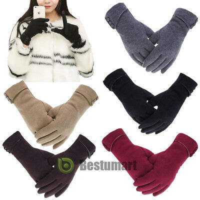 Winter Warm Thick Soft Cashmere Touch Screen Fleece Gloves For Women Ladies 2019