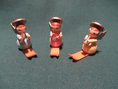 Three Vintage Erzgeberge Type Miniature Wooden Skiing Angels - Italy