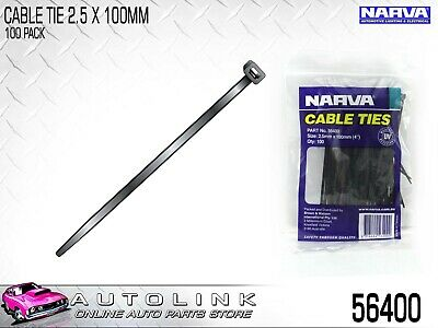 "NARVA BLACK CABLE TIES 2.5mm x 100mm (4"") LONG 100 PACK UV RESISTANT - 56400"