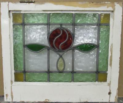 """OLD ENGLISH LEADED STAINED GLASS WINDOW Gorgeous Bordered Floral 21.25"""" x 18.25"""""""