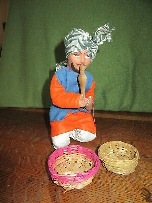 Vintage Handmade Snake Charmer-Cloth Eastern Indian Doll-India