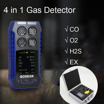 4 in 1 Toxic Gas Detector CO O2 H2S EX Oxygen Gas Monitor Time Temperature Meter