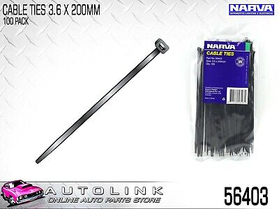 "NARVA BLACK CABLE TIES 3.6mm x 200mm (8"") LONG 100 PACK UV RESISTANT - 56403"
