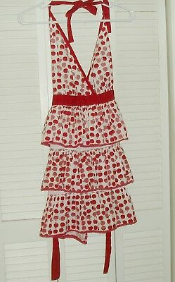 Vintage Red and White Apron with Apples Print