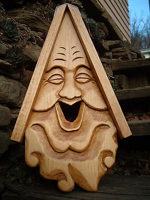 """Unique Smiley Bird House Rustic Hand Carved Happy Face Wood Spirit 16"""""""