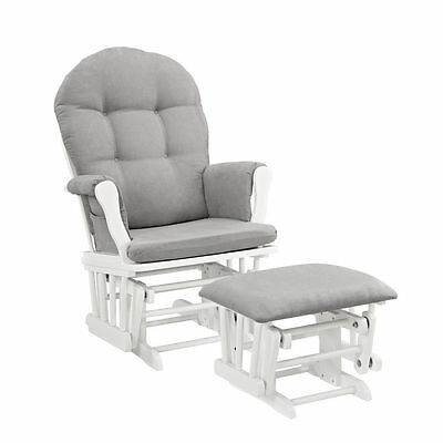 Windsor Glider Furniture Ottoman White Finish With Gray Comfort Cushions