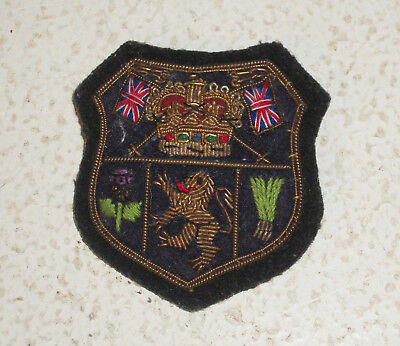 Cloth UK England Crest Pin with two Union Jack Flags, a Crown and a Lion