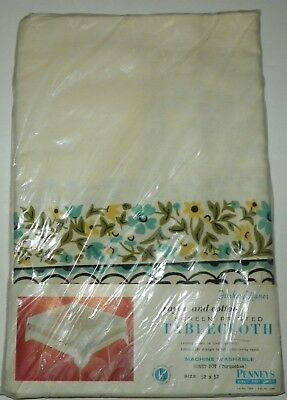 Vintage Fashion Manor Honey Pot Turquoise Screen Printed Tablecloth 52 X 52 NOS