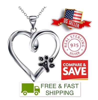 "Animal Pet Lover Heart Puppy Paw Pendant & 18"" Necklace 925 Sterling Silver & CZ"