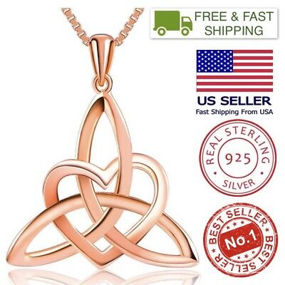 """Rose Gold Plated Sterling Silver Irish Celtic Knot Heart Good Luck Pendant, 18"""""""