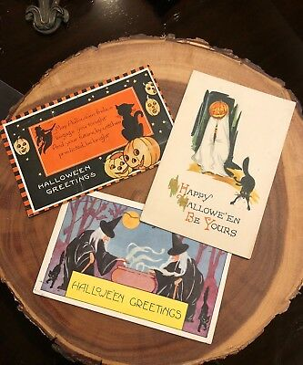 Lot 3 Halloween Postcards (1)Gibson & (2)Whitney Pumpkins Witches Black Cats