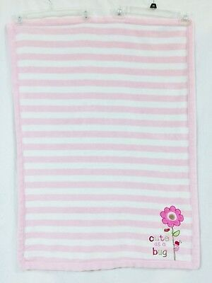 Carters Child-of-Mine-Pink/White Stripe Baby Blanket-Sherpa CUTE AS A BUG