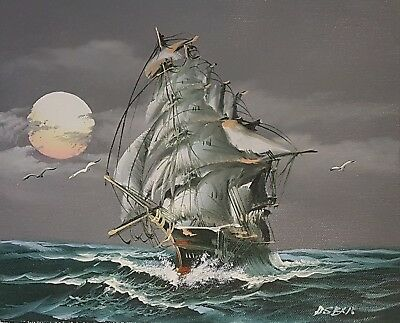 Tall Ship Painting Picture Unframed Signed H. Sent Sailing Ships Vessel