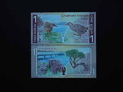 Chatham Islands Pacific Banknotes One Koha  -  Great Art Note   Mint Unc
