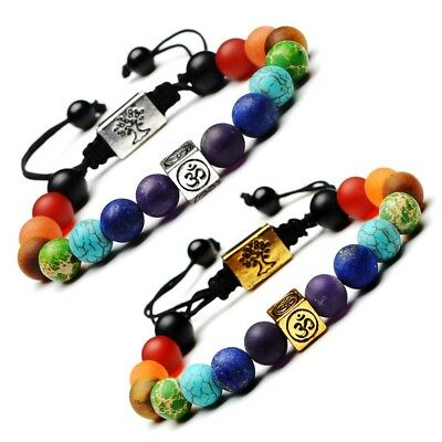 7 Chakra Natural Stone Beads Tree Of Life&Ohm Aum Om Symbol Yoga Bracelet Gift