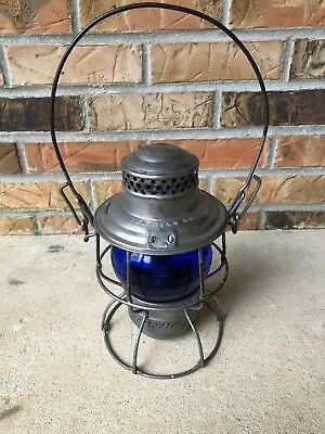 Vintage Southern Railroad Lantern Blue Globe Unfired