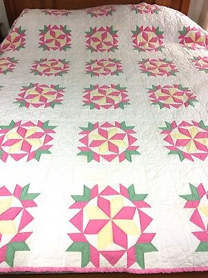 "Nice! Vintage Handmade Swallows In A Window W Star Quilt  68"" X 86"" Well Quilted"