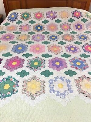 Omg! Vintage Handmade Hexie Grandmothers Flower Garden Quilt All Hand Stitched