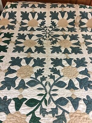 WOW! VINTAGE HANDMADE APPLIQUE OAK LEAF VARIATION QUILT  CIRCA 1850s