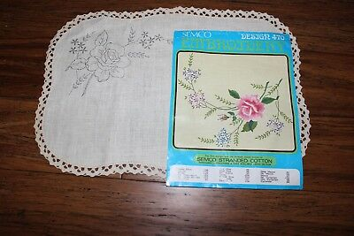 *Rare VTG Traced linen Exceptional Centre Piece - Semco # 470  - Lace Edge