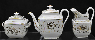 Antique Paris Porcelain Hand Painted Gilt 3 Piece Tea Set 19th century
