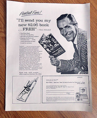 1965 Phillies Tips  Cigar Ad  Chris Schenkel How to Watch Football on Television