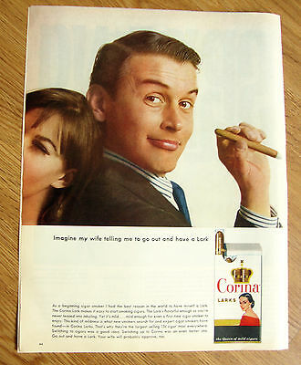 1964 Corina Larks Cigar Ad Imagine My Wife Telling Me to go out & have a Lark
