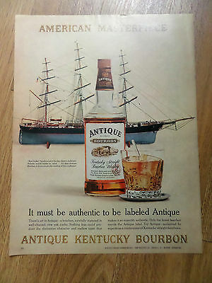 1962 Antique Kentucky Bourbon Whiskey Ad  Red Jacket Clipper Ships