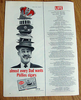 1962 Phillies Cigar Ad  Almost Every Dad wants Phillies Cigars