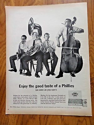1962 Phillies Cigar Ad   Could make a Horn Player Switch to Bass Fiddle