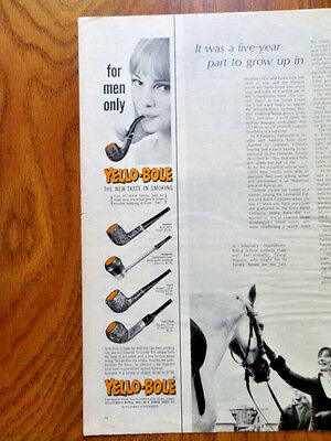 1968 Yello-Bole Pipe Ad  Lady Smoking Pipe    For Men Only