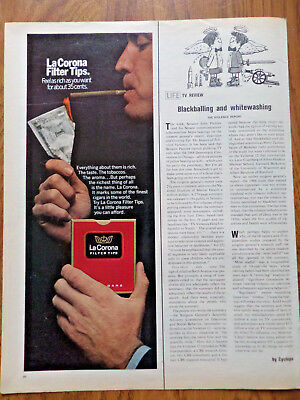 1968 LaCorina Filter Tips Cigar Ad  Lighting one up with a Dollar Bill