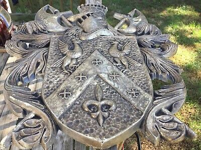 Crest Hand Carved Wood Antique Solid Wood Pediment French Style Folk Art