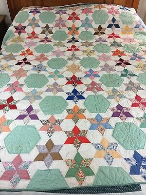 Gorgeous Vintage Handmade Feed Sack 6 Point Star Quilt Well Quilted