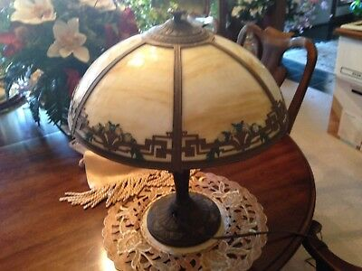 Antique Arts and Crafts yellow daisies A&R Raunaud Slag Glass LAMP Art Nouveau