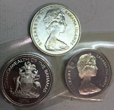 Lot Of THREE - DOLLAR - BAHAMA SILVER PROOF - 1966-1974 -.800 SILVER - LOW MINT