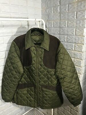 BARBOUR Men's Olive Green Quilted Suede SHooting Jacket New! Medium Large